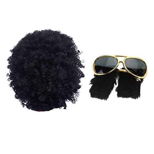 D Dolity Uomo Afro Sunglasses 70s Disco Rock Costume Foto Props