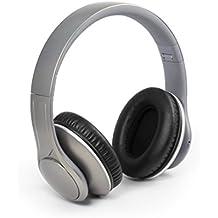 Technaxx MusicMan BT-X15 - Auriculares inalámbricos (Bluetooth 3.0, reproductor de MP3 incorporado, radio FM, admite tarjeta MicroSD) plata