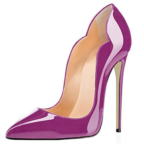 elashe- Scarpe da Donna - 12CM Scarpe col Tacco Pointed Toe - Classiche Scarpe col Tacco Viola EU36