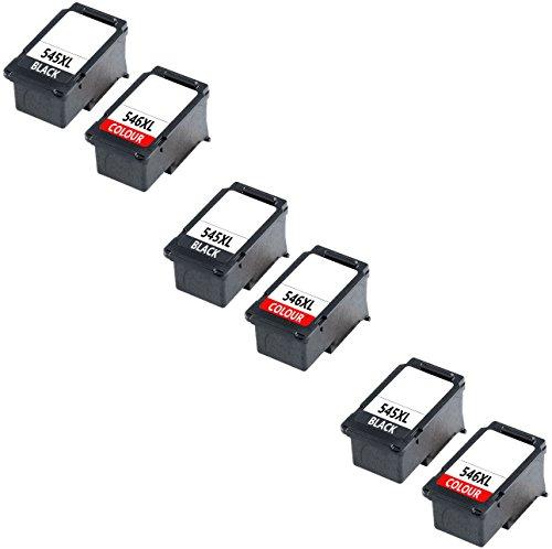 Prestige Cartridge PG-545XL CL-546XL Pack de 6 Cartuchos de tinta compatibles para Canon Pixma iP2800, iP2840, iP2850, iP2855, MG2400, MG2450, MG2455, MG2500, MG2550, MG2550S, MG2555, MG2555S, MG2900, MG2920, MG2950, MG2950S, MG2955, MG3050, MG3051, MG3052, MG3053, MX490, MX495