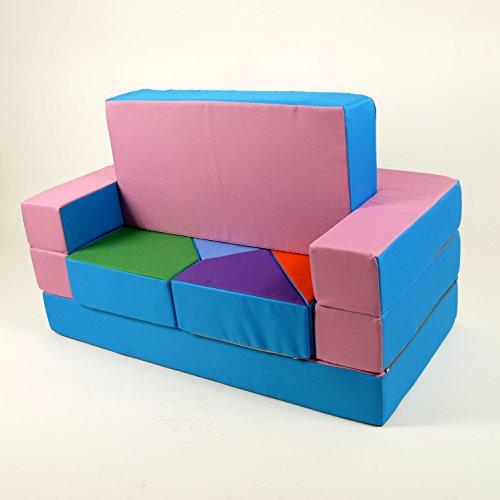 Spielsofa 4in1 Kindersofa Spielmatraze für das Kinderzimmer Spielpolster Softsofa rosa/hellblau Puzzle Kinderzimmersofa Spieltisch Kindermöbel - 3