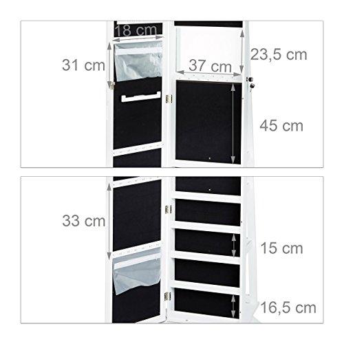 Relaxdays Schmuckschrank weiß mit Spiegel, XXL-Schmuckkasten abschließbar, Spiegelschrank zum Drehen HBT: 161x39,5x40cm - 4