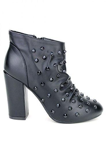 Cendriyon, Bottine Noire ROCKANA Clous Chaussures Femme Noir
