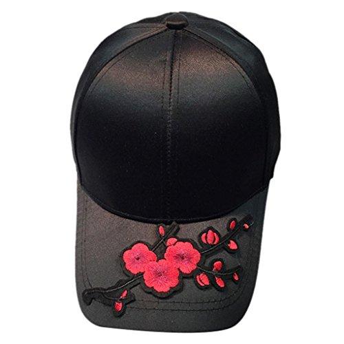 kingko® Decale Blume mercerisierte Baseballmütze gekrümmte Traufe Sonnenschutz Schatten Mütze (Schwarz) (Mercerisierte Golf)