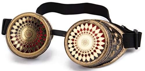 KOLCY Steampunk Brille Gotische Partybrille Schutzbrille Rund Gold Rote Gläser Verstellbares Gummiband Feines Muster