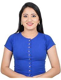 dab20976187b2b Biyu Womens Girls Cotton Lycra High Neck Stretchable Front Button Short  Sleeves Readymade Saree Blouse Crop