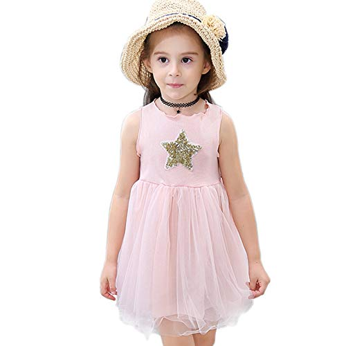 Angelland Legere Kleidung Kostüm Tütü Kinder Kleid Mädchen Sommerkleid Einhorn Party Deko Kindergeburtstag Geschenk mit Einhorn Haarreif Sommerkleid mädchen 4J Höhe 39.3-43.3'' Rosa