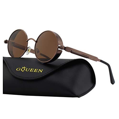 GQUEEN Retro Runde Steampunk Polarisierte Sonnenbrille -