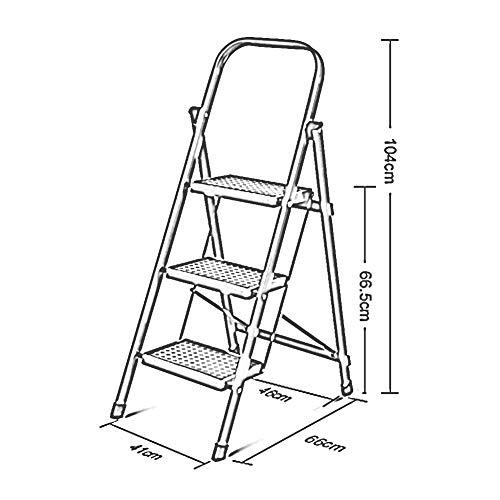 FFLSDR Klapphebel Eisen Multi-Funktions-dicken Anti-Rutsch-Klapp-Set, rot und weiß, 3, 4, 5, 6-Stufen-Leiter (Farbe : Weiß, größe : 3 Steps) -