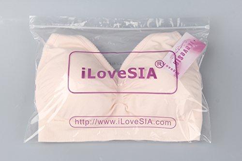 iLoveSIA® Soutien-gorge Allaitement sans armature confortable et pratique Neuf avec dentelle 2pcs Pack(Noir+Beige)