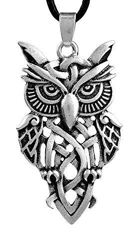 Precioso collar con colgante celta búho, medallón + cordón de 50 cm, idea regalo para hombre o mujer.