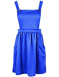 Be Jealous Women's Skater Pinafore Dungaree Cross Back Dress Pocket Playsuit