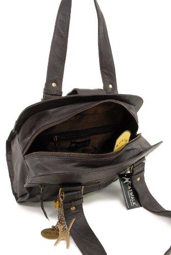 Handtasche - Leder - Zara von Catwalk Collection - GRÖßE: B: 32.5 H: 23 T: 13 cm Braun