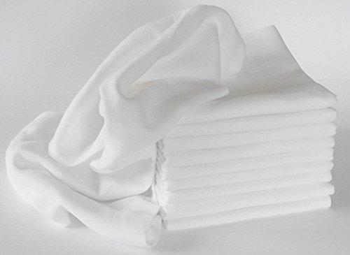 Mullwindel/Spucktücher/Stoffwindeln, 10er Pack, weiss, 80x80 cm, 100{fd43214c16d87723ce4d46590f7f0ebac393a21794549890d3cbe52ac88f60c1} Baumwolle, doppelt gewebt, zertifizierte Herstellung, kochfest 95°