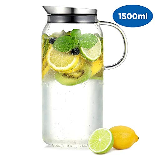 ecooe Glaskaraffe 1500ml (Volle Kapazität) Glaskrug aus Borosilikatglas Wasserkrug mit Edelstahl Deckel Karaffe Glaskanne