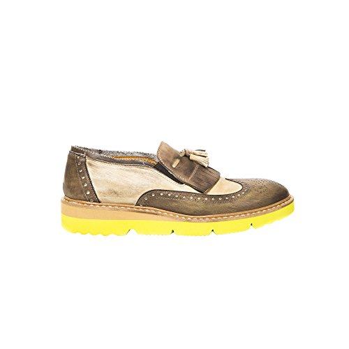 UominiItaliani - Herren Elegante Vintage Mokassin Leder Schuhe ohne Schnürsenkel Made in Italy - Mod. 1040 2356 fNew Air Sand