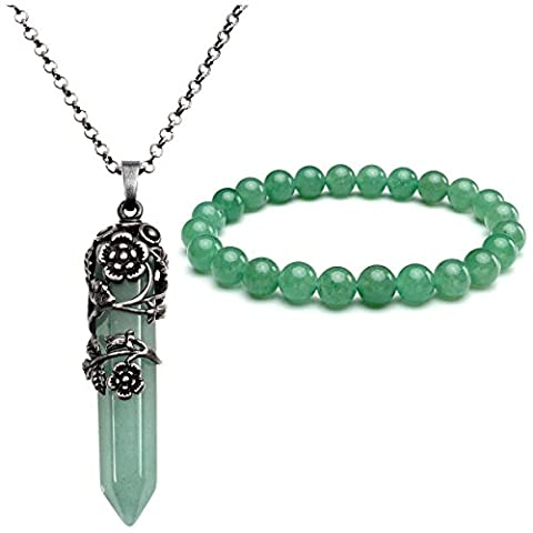 JSDDE Natural Amethyst Rose Quartz Gemstone Crystal Healing Antique Silver Flower Wrap Pointed Pendant Necklace Bracelet Jewelry Set(Green