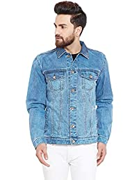 5901094996aa KROSSSTITCH Men's Full Sleeves Denim Jacket with Button Closure| Sky Blue