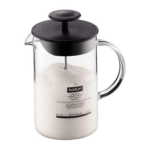 Bodum Latteo Cappuccinatore Con Manico In Vetro 0.25L / 8 Once Nero (Confezione da 6)