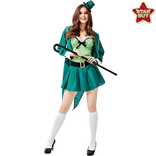 Kostüm Irish Frauen's - COSOER Ostern St. Patrick's Day Kostüme Irish Goblin Frauen Magier Cosplay Kleidung,Female/Green-L