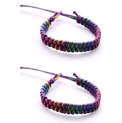 2 pulseras de amistad unisex DonDon de colores, pulseras para la parej