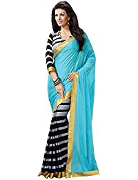 Tiana Creation Silk Saree (Bhagalpuri_Blue_Blue & Black)