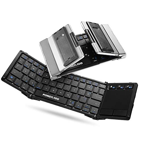 POWERADD Bluetooth Tastatur Tri-fold Faltbare Tastatur Bluetooth Keyboard mit Touchpad QWERTZ Layout (deutsche Tastatur) für iOS, Android, Windows, PC, Tablets und Smartphone