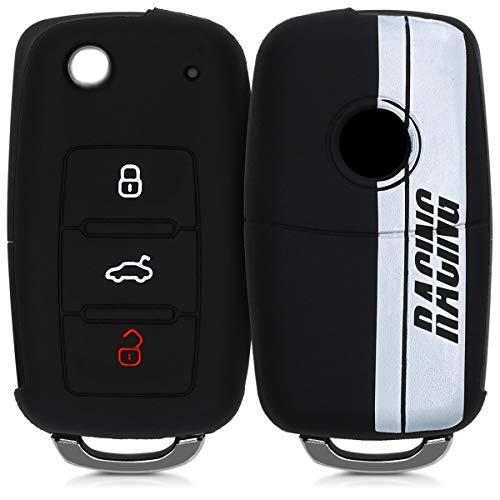 kwmobile Accessoire clé de Voiture pour VW Skoda Seat - Coque pour Clef de Voiture VW Skoda Seat 3-Bouton en Silicone Noir-Blanc-Noir - Étui de Protection Souple