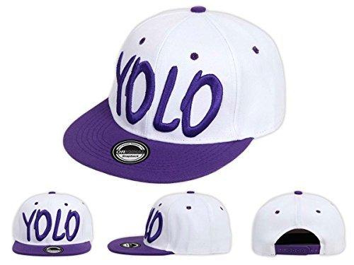 Yolo (You Only Live Once) snapback hip hop, Baseball Cap bianco/Lilla