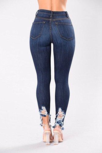 WanYang Donna Moda E Confortevole Pantaloni Strappati Jeans Slim Skinny Pantaloni A Vita Alta Elasticizzati Blu scuro