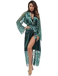 dcce898c41 SEXYU Sexy Dessous Erotic Set Damen Lange Kimono Nachthemd Satin Spitze  Bademantel Dessous Kleid Ice Silk