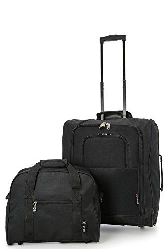 British Airways Maximal-Größe Handgepäck Trolley 56x45x25cm & Zweites 40x30x15 Reisetasche Kofferset - Nehmen Sie beide mit! (Schwarz / Schwarz) 4 x Schwarz / Schwarz