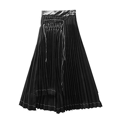DQHXGSKS Neue frühling Sommer hohe elastische Taille schwarz plissiert unregelmäßigen Split Joint halbkörper Rock Frauen Mode Flut s schwarz -
