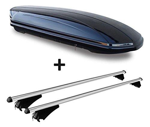 VDP Dachbox schwarz glänzend MAA 580 Auto Dachkoffer 580 Liter abschließbar + Alu-Relingträger Dachgepäckträger für aufliegende Reling im Set für Audi Q5 8R 08-12