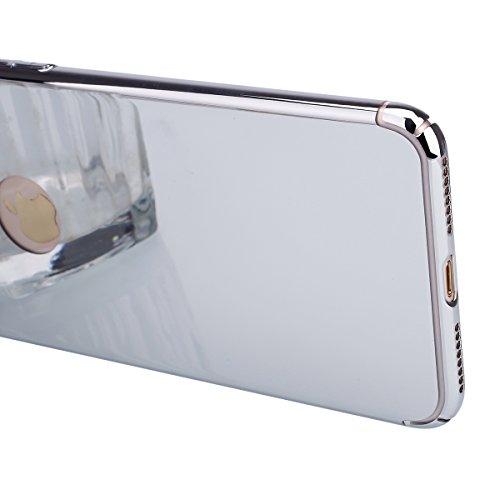 Ukayfe Copertura Custodia a specchio per iPhone 7/8 plus, Moda Casa Con il confine di oro rosa placcatura Design ,Custodia Brillante cristallo Ultra Sottile Morbido TPU Gel Silicone Mirror Case Protet Argento-specchio