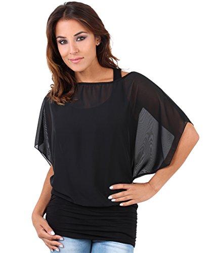 Krisp Damen Bluse 3559 Schwarz (Schwarz 3559 15), 52 (Herstellergröße: 24) (Damen Designer-tunika)