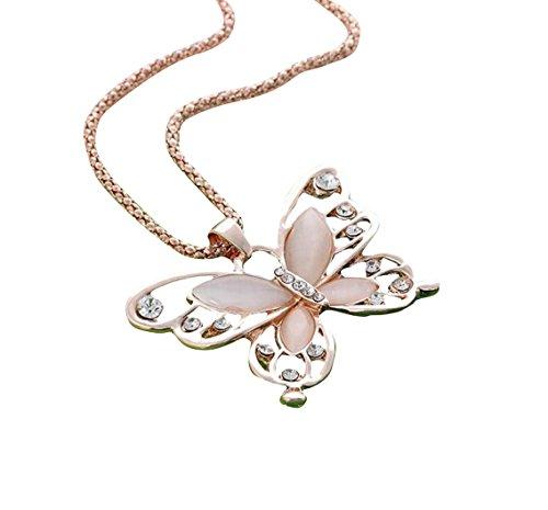 Sunnywill Womens Lady Rose Gold Opal Schmetterling Anhänger Halskette Pullover Modekette für Damen Mädchen