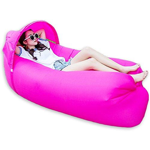 Galleria fotografica Divano/letto/materassino gonfiabile portatile, 0,9 kg, per attività all'aria aperta, escursionismo, campeggio, spiaggia e giardino, con parasole, Rose red