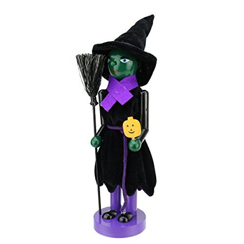 Northlight Green Witch Decorative Wooden Halloween Nutcracker Holding Broom and Jack-o-Lantern, 14 by Northlight Halloween Green Lantern