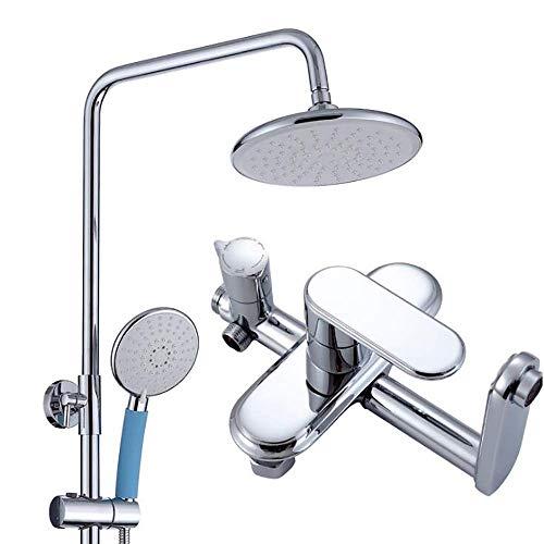 Modern Plating Copper Duscharmatur-Set Inklusive 8-Zoll-Kopfbrause, Handbrause und Wasserhahn (4 Led Fuß-rohr)