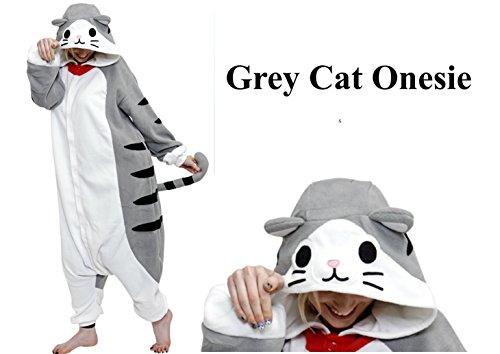 Graue Katze Feline Kinder Alter 12-14 Damen Größe 8-12 Strampelanzug Kostüm Erwachsene Loungewear Mädchen (Alter 12-14) ()