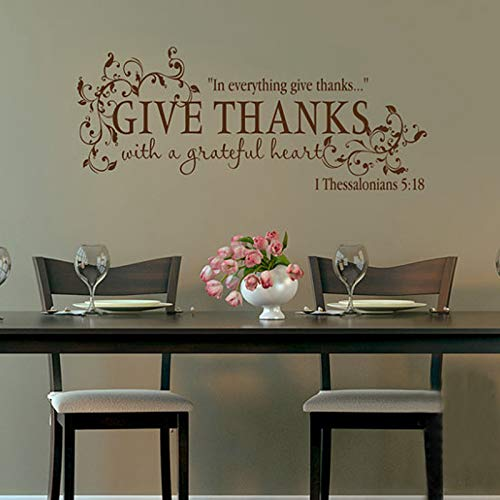 Bible Verse Give Thanks with A Grateful Heart Thanksgiving Wall Quote Vinyl Decal Stickers Blue 105x42cm