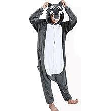 Cliont Animal Lobo grande pijamas ropa de dormir Kigurumi Nightclothes del traje del Anime de Cosplay de Onesie de la Navidad