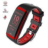 ISWIM Fitness Tracker,Fitness Armband mit Pulsmesser Wasserdicht IP67 Aktivitätstracker Pulsuhren Smartwatch Schrittzähler Uhr Vibrationsalarm (Rot)
