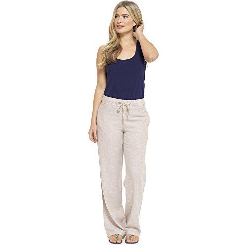 Lora Dora para mujer lino Pantalones pirata Capri/pantalones de longitud completa UK 10-18 Stone...