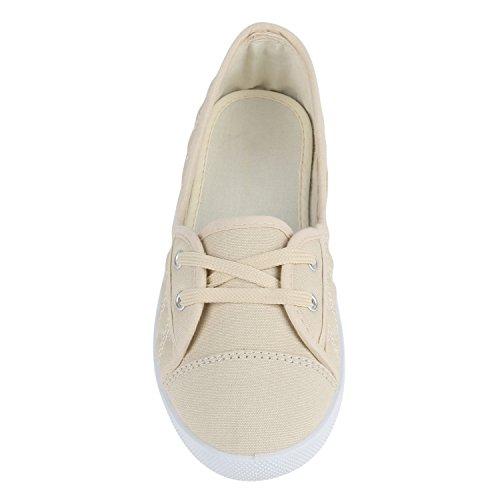 Klassische Damen Ballerinas   Sportliche Stoffschuhe   Slipper Flats   Sneakers Slip-ons   viele Farben Beige Gesteppt E986ROtpz