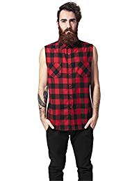 Urban Classics Sleeveless Checked Flanel Shirt Chemise Worker sans manches noir/rouge