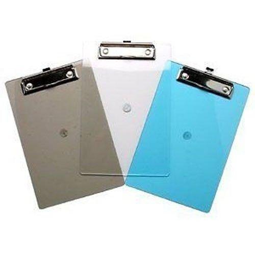 6x A5Kunststoff transluzent Klemmbrett-Getöntes transparent Clip Board in blau/grau/klar