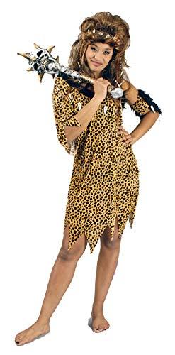 narrenkiste K31292472-44-46-A braun-schwarz leolook Damen Neandertaler Kostüm-Kleid Gr.44-46