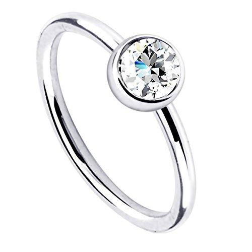 Piersando Hufeisen Piercing Klemm Ring Universal Klemmring mit Kristall für Septum Tragus Helix Nase Lippe Ohr Intim Nippel Augenbraue Brust Clear 10mm x 1,0mm
